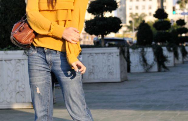 Forever 21 Hat, Topshop Blouse, Gap Boyfriend Jeans, YSL Platforms, Coach Bag