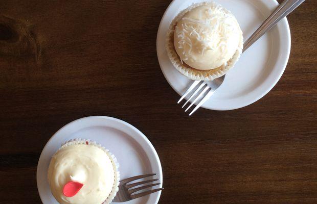 {Red velvet + coconut cupcakes at Lark}