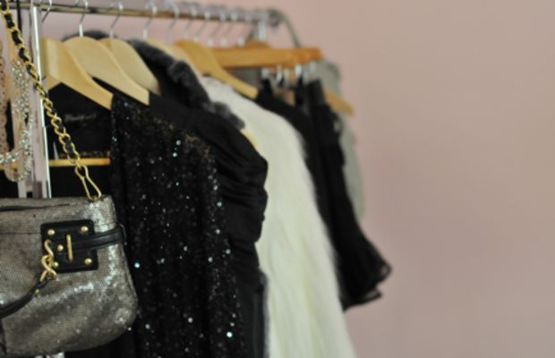 {The clothing rack that I keep in my office}