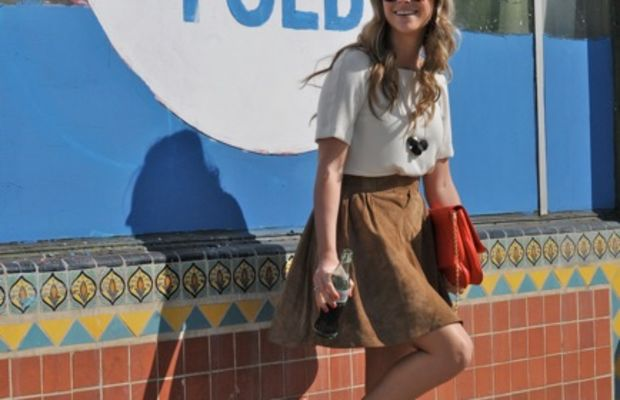Jaeger London Skirt(c/o),The Row Sunglasses, Zara Top and Clutch,Handmade Necklace, Marni Platforms