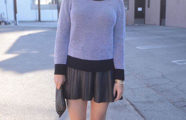 {Banana Republic Sweater, Zara Skirt, Topshop Clutch, Vince Booties, Topshop 'Saint' Lipstick, Essie 'Partner in Crime' Nail Polish}