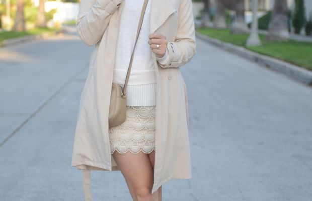 {H&M Trench, Clu Sweater, Club Monaco Skirt (similar here), Madewell Oxfords, Gucci Bag, Aerin Lauder 'Wild Lilac' Lipstick}