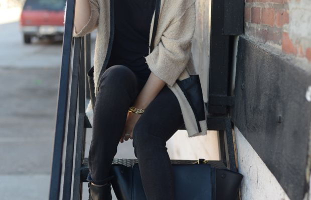 {Topshop Hat, Erin Kleinberg Sweater c/o, T by Alexander Wang Shirt, McGuire Jeans, H by Hudson Booties, Celine Bag}