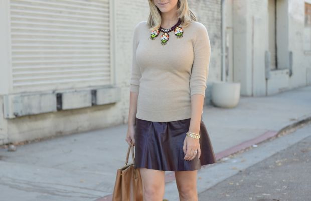 {Ray-Ban Aviators, J.Crew Sweater (similar here) + Necklace, Banana Republic Skirt, Prada Bag and Shoes}