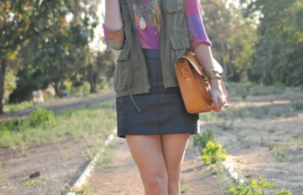 Vintage Aviators and Necklace, Urban Outfitters Blouse, J.Crew Vest, Handmade Bracelet (by my mom), Zara Skirt,Leather Satchel Company Clutch, Fendi Wedges