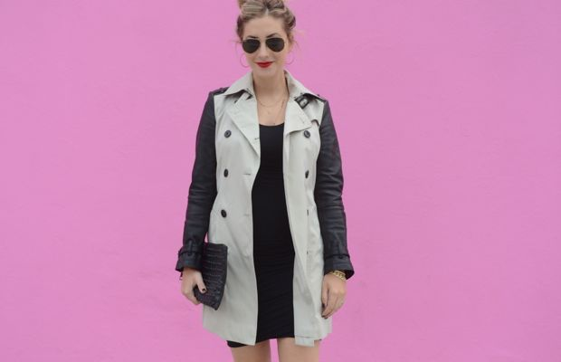 {Ray-Ban Aviators, Burberry Trench, James Perse Dress (similar here), XIV Karats Earrings, Topshop Clutch, Zara Heels, Burberry 'Military Red' Lipstick, Essie 'Partner in Crime' Nail Polish}