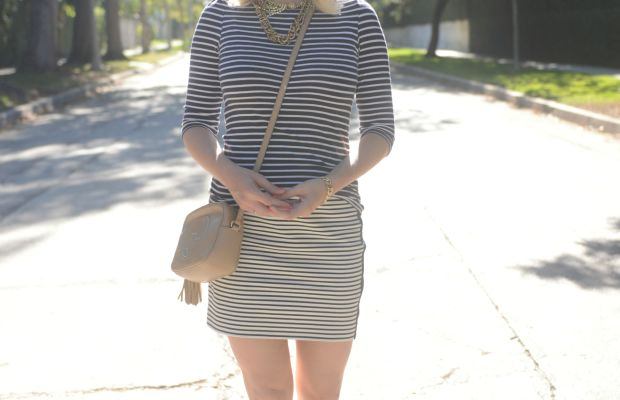 Ray-Ban Aviators, H&M Top, Madewell Skirt (on sale), Elyse Walker Pumps, Gucci Bag, J.Crew Necklace, Essie 'Cute as a Button' Nail Polish