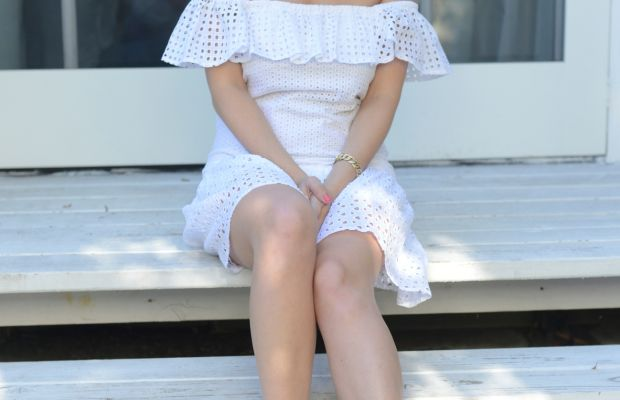 Rebecca Minkoff Dress, EF Collection Necklace, J.Crew Gladiators(on sale), Essie 'Cute as a Button' Fingernail Polish, tenoverten 'Lucky Red' Toenail Polish