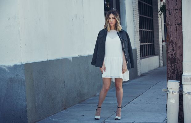 Oakley Aviators, Cupcakes and Cashmere Laurel Dress and PresidioMilitary Jacket, Vince Camuto Heels