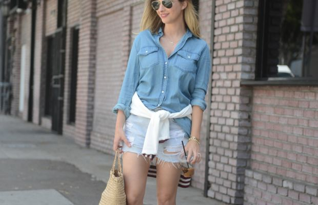 Ray-Ban Aviators, Cupcakes and Cashmere Chambray (here and here), Camp Varsity Sweatshirt, Vintage Levi's, Steven Alan Sandals, Greige Design Bag, MAC 'Rebel' Lipstick