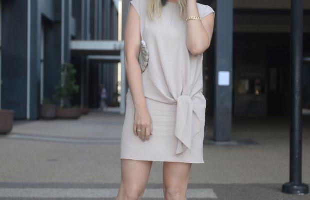 Tibi Dress, Vintage Clutch, Valentino Heels