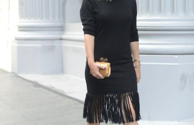 Celine Sunglasses, Ulla Johnson Sweater Dress, Dries Van Noten Heels, Tiffany & Co. Clutch, MAC 'Snob' Lipstick