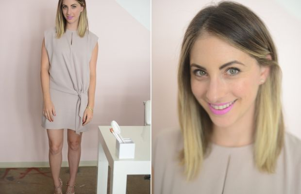 Wednesday: Tibi Dress, Valentino Heels, Topshop 'Mystique' Lip Bullet