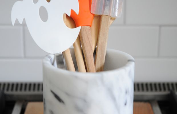 {My rather embarrassing collection of Halloween spatulas}