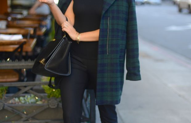 Cupcakes and Cashmere Coat, Theory Top and Pants, Vince Booties, Celine Purse