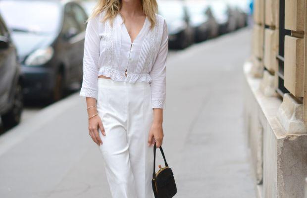 {LoveShackFancy Shirt, Club Monaco Pants(on sale), Carrie Forbes Sandals, Vintage Bag}