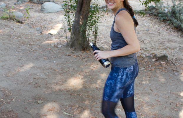 Swell Water bottle, Lululemon Racerback and Headband, Phat Buddha Sports Bra, Varley Leggings