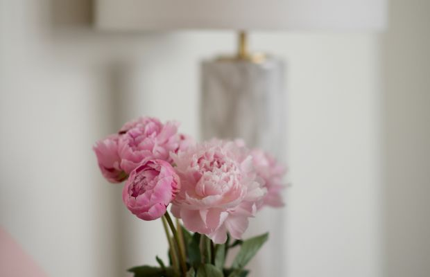 {Pink peonies to brighten up my office console}