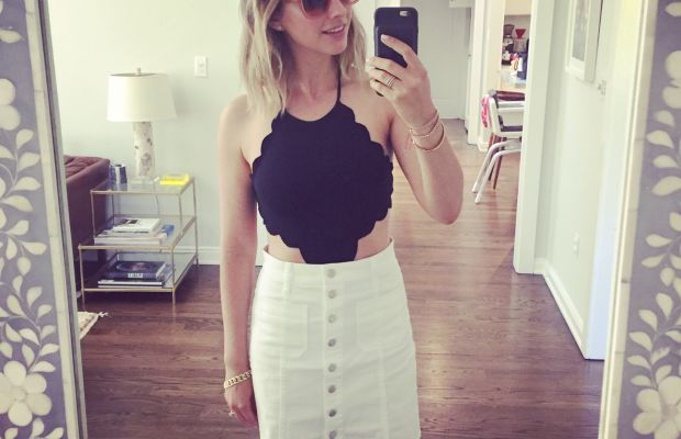 My beach look: Celine Sunglasses, Marysia One-Piece (similar here), Madewell Skirt (on sale)