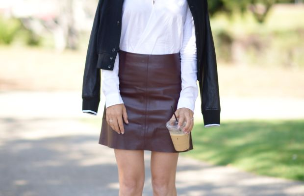 Rag & Bone Jacket and Blouse, Theory Skirt, Gianvito Rossi Booties