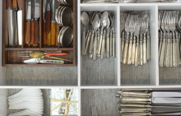 Thea's awesomely-organized cutlery drawer, with fabric liner picked up on a trip to Israel