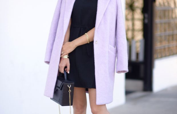 Elizabeth and James Coat(similar here), ban.do Pin, Maje Dress (similar here), Falke Socks, Zara Shoes (similar here), Kalamarie Bag c/o