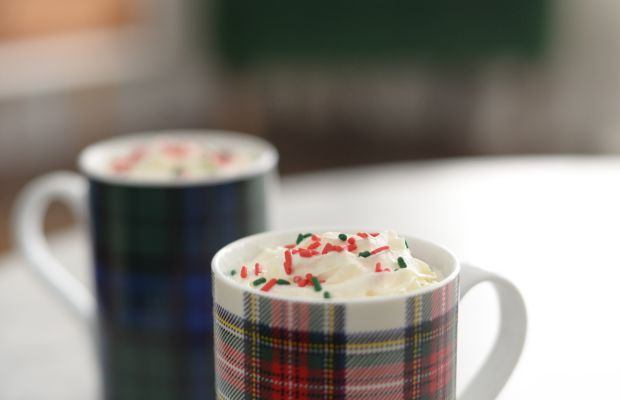 {First hot chocolate of the season, with red and green sprinkles of course}