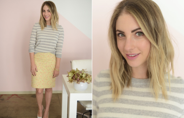 Friday: White + Warren Sweater, J.Crew Skirt, Manolo Blahnik Pumps, MAC 'Rebel' Lipstick