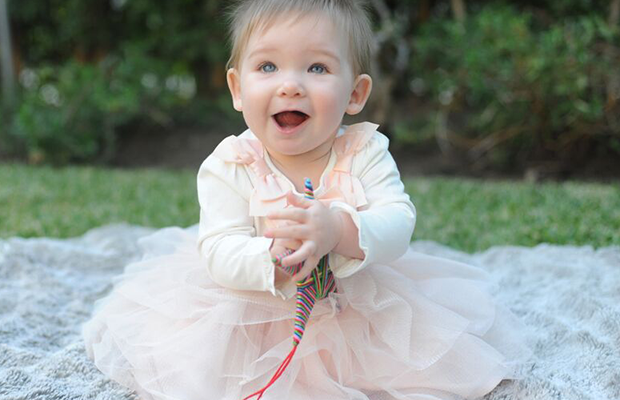 Sloan's clearly a fan of her first tulle skirt, paired with a bow top.
