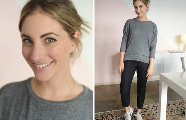 Monday: F21 Sweatshirt, Theory Pants, Nike Sneakers (similar color here)