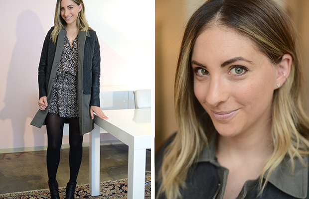 """{Tuesday: Ulla Johnson Dress, Elizabeth and James Jacket, H&M Tights, Vince Booties, Tom Ford """"Nude Vanille"""" Lipstick}"""
