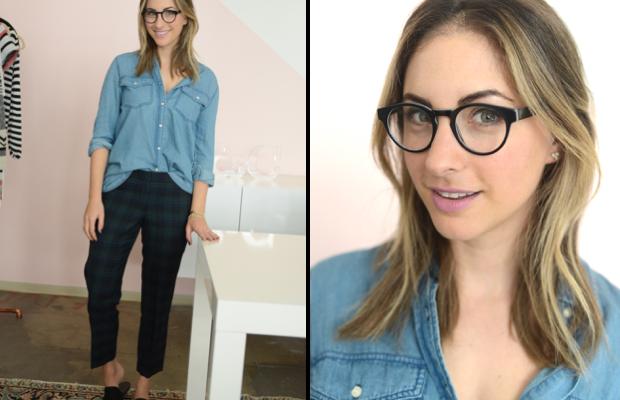 {Thursday: LA Eyeworks Glasses, Cupcakes and Cashmere Chambray (on sale), J.Crew Pants, Jenni Kayne Mules, MAC 'Snob' Lipstick}