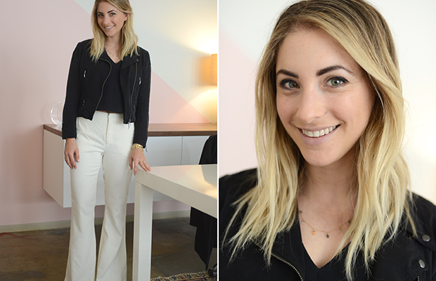 Wednesday: Milly Top(also available in white), Club Monaco Jacket, Cupcakes and Cashmere Trousers, Celine Pumps