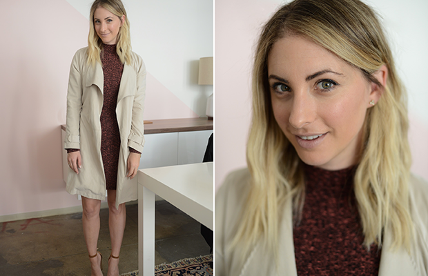 Friday: Cotton On dress(currently $10), Cupcakes and Cashmere Trench (no longer available), Top Shop 'Saint' lipstick