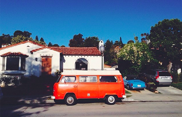 One of the houses on the perimeter of the Silverlake Reservoir - this orange VW van is always parked out front and makes me happy