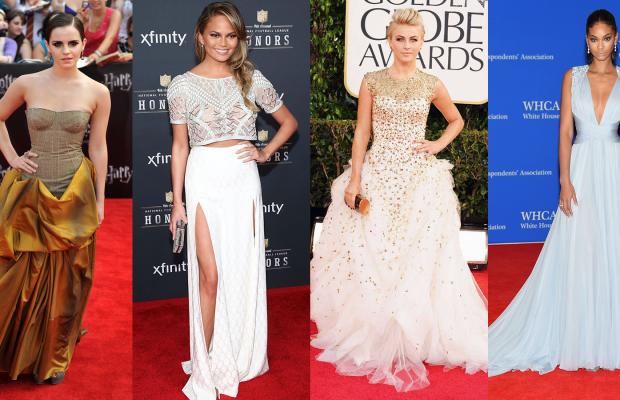 {Some of Anita's awards show looks on Emma Watson, Chrissy Teigen, Julianne Hough, and Chanel Iman}