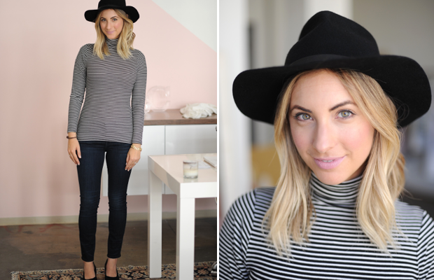Thursday: Cuyana Hat, Cotton On Top, AG Jeans (similar here), A Détacher Shoes, Topshop 'Saint' Lipstick