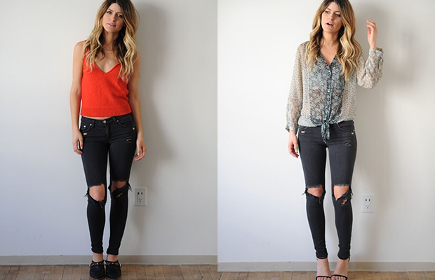 Left, with mid-height mule booties; right with high heel single sole sandals