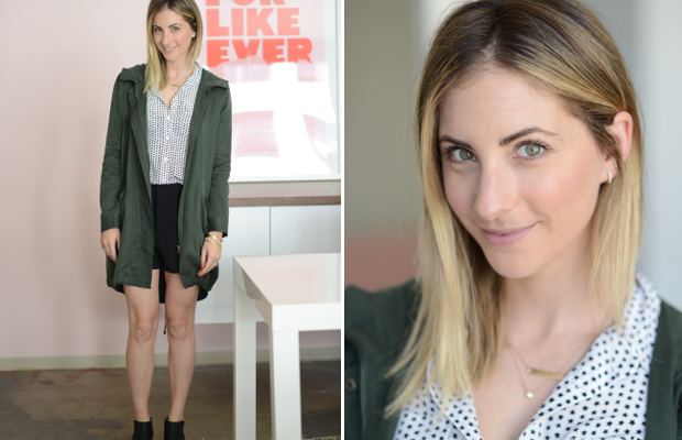 Wednesday: Equipment Blouse (similar here), Cupcakes and Cashmere Anorak + Shorts, Alexander Wang Booties