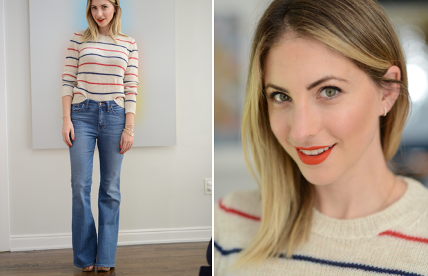 Tuesday: Etoile Isabel Marant Sweater, Madewell Jeans (on sale), Alberta Ferretti Sandals, Nars 'Dragon Girl' Lipstick