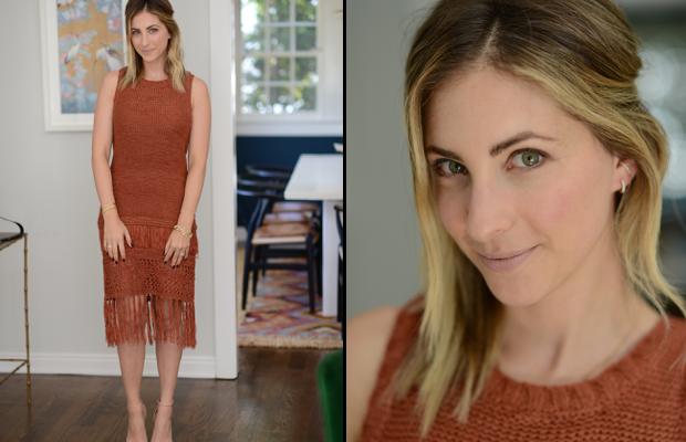 Wednesday: Moon River Dress, Zara Sandals, Nars 'Madere' Lipstick