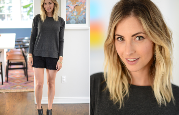 Tuesday: Cupcakes and Cashmere Top (similar here) and Shorts, Alexander Wang Booties