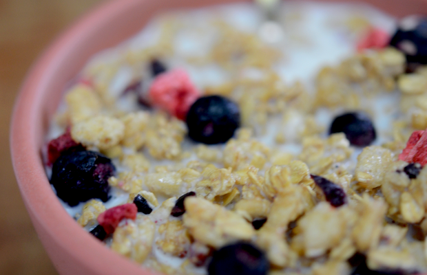 {Tuesday's snack: berry granola cereal with almond milk}