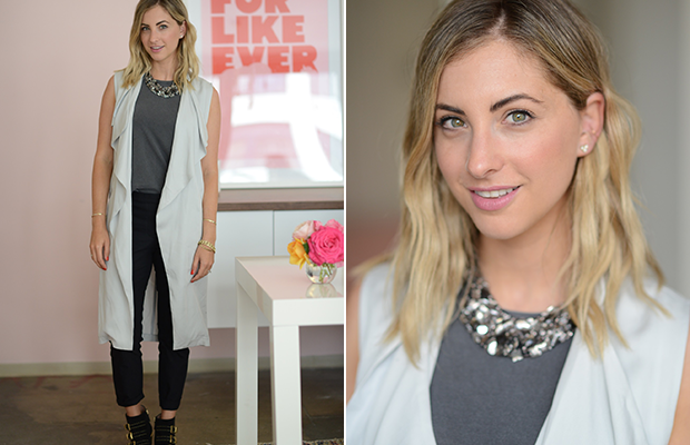 Monday: AG Tank Top, Martin + Osa Necklace, Theory Pants (similar here), Cupcakes and Cashmere Vest, Chloe Boots, Maybelline 'Pink Me Up' Lipstick