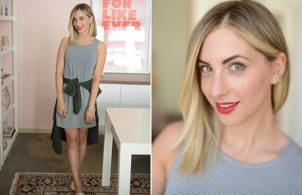 Thursday: Cupcakes and Cashmere Dress and Jacket (similar here), Jenni Kayne Flats, Laura Mercier 'Mon Cheri' Lipstick