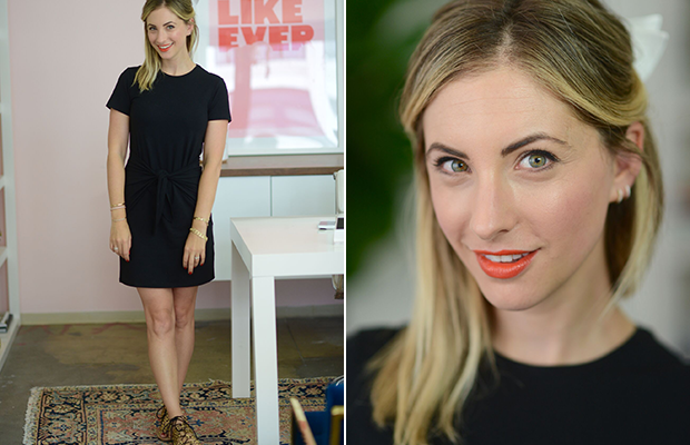 Monday: Theory Dress, Loeffler Randall Sandals, Make Up Forever #40 Lipstick