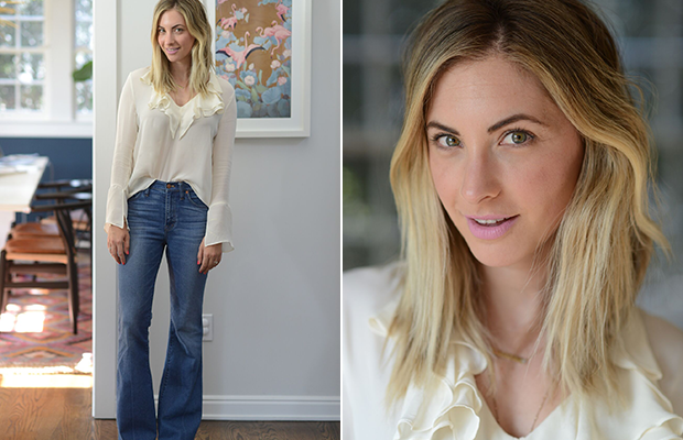 Tuesday: Love Sam Blouse, Madewell Jeans, Philosophy Shoes, M.A.C. 'Snob' Lipstick