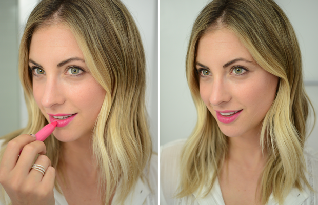 Left: Un-blotted and neon; Right: Slightly blotted and toned down