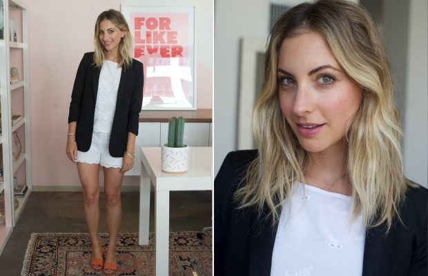 Monday: Cupcakes and Cashmere Top and Shorts, Elizabeth and James Blazer, Brother Vellies Shoes,Maybelline 'Pink Me Up' Lipstick