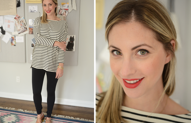 {Thursday: Hatch Top c/o, Ingrid and Isabel Leggings c/o, Madewell Oxfords, Maybelline 'Are You Red-dy' Lipstick}